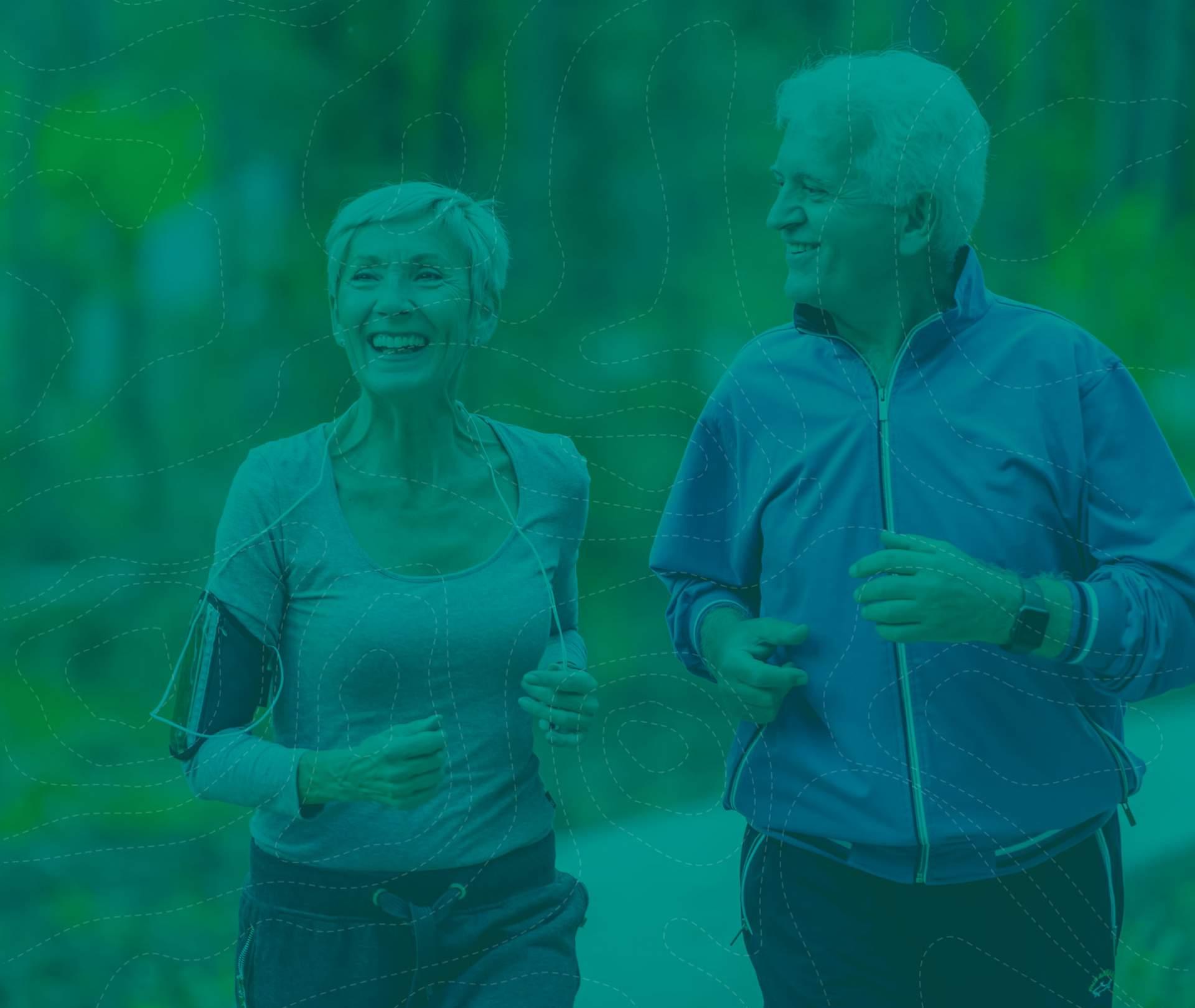 Ain Sport Santé : filigrane fond vert avec couple de personnes âgées